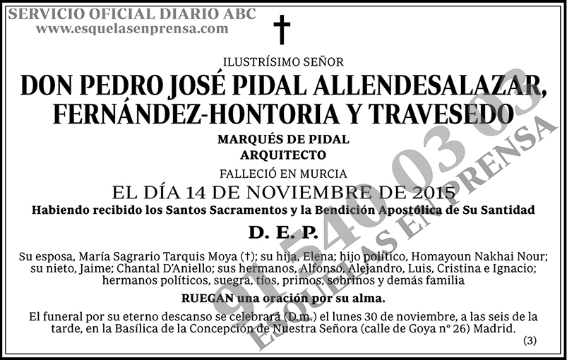 Pedro José Pidal Allendesalazar, Fernández-Hontoria y Travesedo